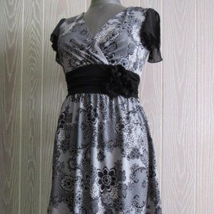 Maurices white w/black-lace pattern dress